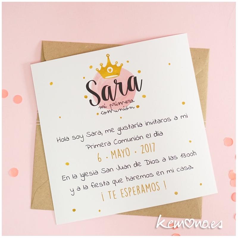 Invitación Comunión Princesa Niña