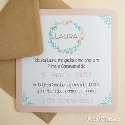 invitacion comunion floral niña
