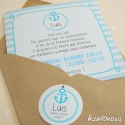 invitación comunión niño marinero