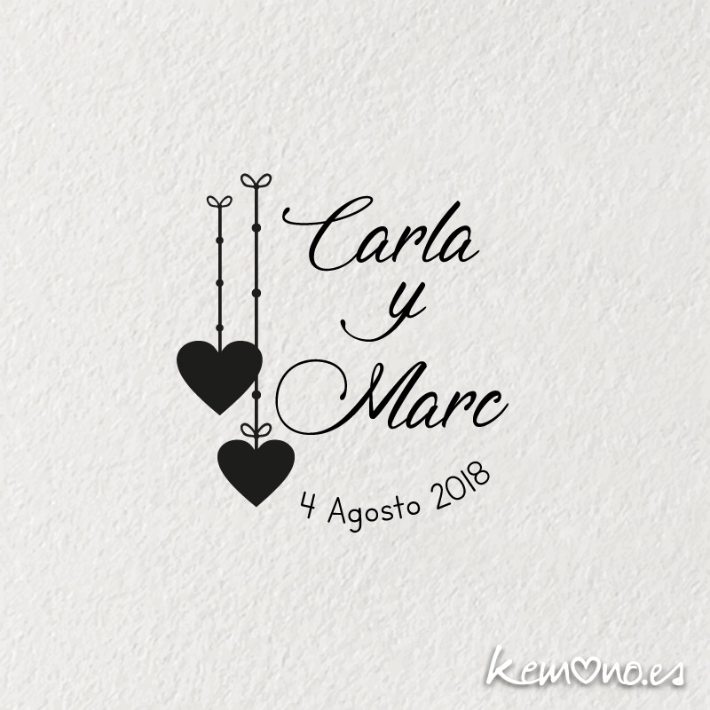 sello boda corazones