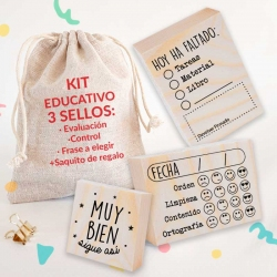 KIT EDUCATIVO 2 sellos EVALUACIÓN + 1 EDUCATIVO + Bolsita
